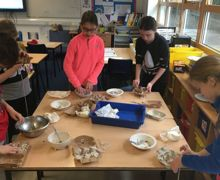 Year 6 keyworker children making bird feeders